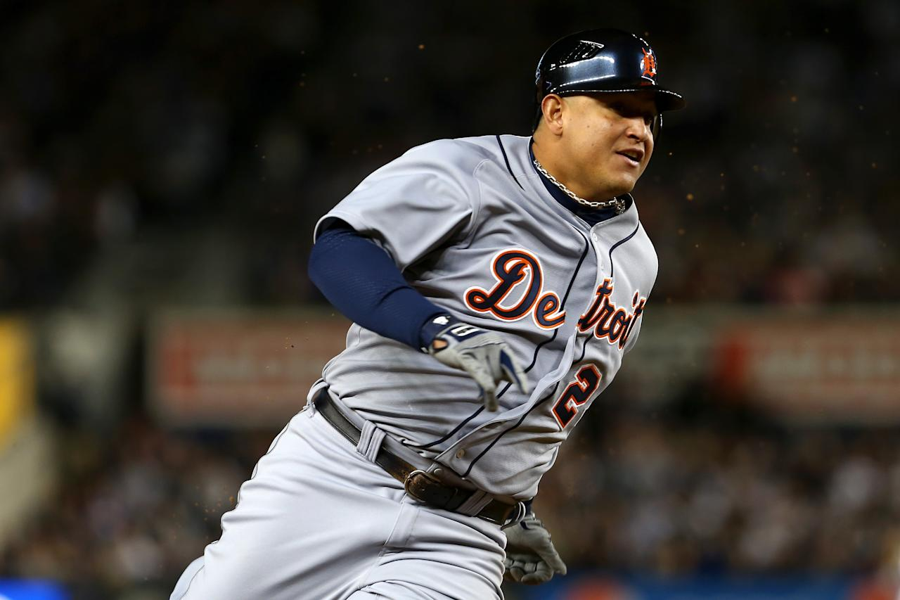 NEW YORK, NY - OCTOBER 13:  Miguel Cabrera #24 of the Detroit Tigers runs home as he scores from second base on a RBI single hit by Delmon Young #21 in the top of the sixth inning against the New York Yankees during Game One of the American League Championship Series at Yankee Stadium on October 13, 2012 in the Bronx borough of New York City, New York.  (Photo by Elsa/Getty Images)
