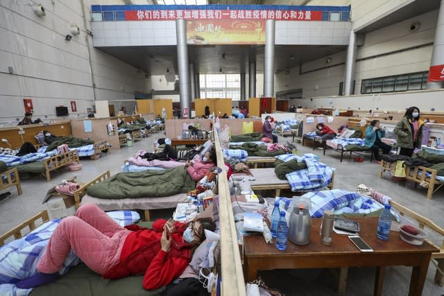 Patients at a temporary hospital in Wuhan