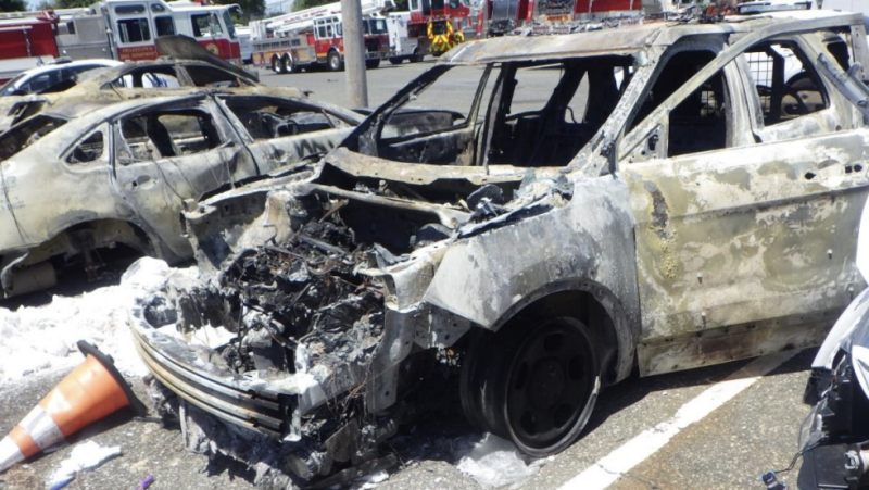 Following the peaceful protests in Philadelphia following the death of George Floyd, two police cars were set on fire. Source: US District Court for the Eastern District of Pennsylvania