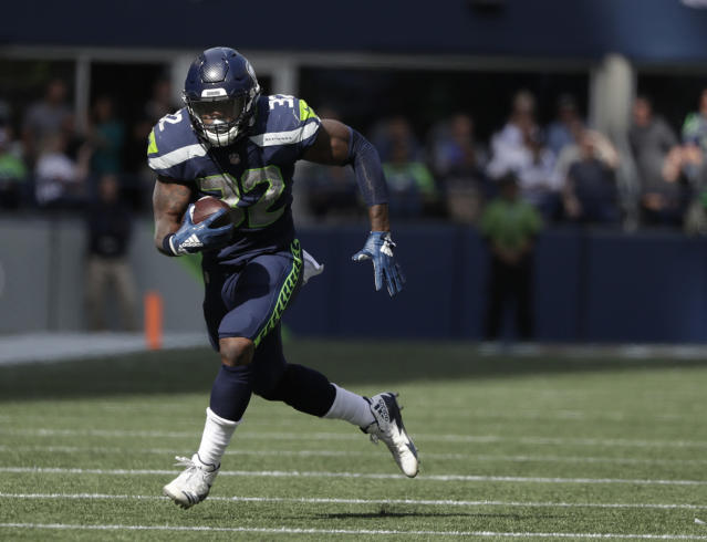 Chris Carson — who regained control of the backfield in Seattle — gets a juicy matchup in Week 6. (AP Photo/Elaine Thompson, File)