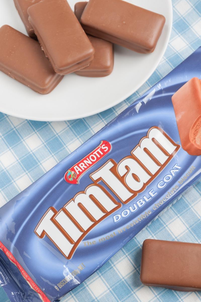 Tim Tams a popular brand of cream filled chocolate covered biscuit made by Arnott's Biscuits Limited in Australia. Napier New Zealand - December 8 2015