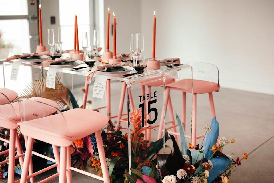 "<p>Pink stools, persimmon taper candles, and a floral arrangement set along the floor are all centerstage, thanks to a see-through Lucite table. </p><p><em><a href=""https://www.houseofyonder.com/"" rel=""nofollow noopener"" target=""_blank"" data-ylk=""slk:Via Yonder House"" class=""link rapid-noclick-resp"">Via Yonder House</a></em><br></p><p><a class=""link rapid-noclick-resp"" href=""https://go.redirectingat.com?id=74968X1596630&url=https%3A%2F%2Fwww.williams-sonoma.com%2Fproducts%2Ftiny-taper-candle-set-rust%2F&sref=https%3A%2F%2Fwww.elledecor.com%2Flife-culture%2Ffun-at-home%2Fg2387%2Fvalentines-day-decor%2F"" rel=""nofollow noopener"" target=""_blank"" data-ylk=""slk:GET THE LOOK"">GET THE LOOK</a><em><br>Tiny Taper Candle Set, Williams Sonoma, $14.95</em></p>"