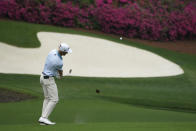 Will Zalatoris chips to the 13th green during the third round of the Masters golf tournament on Saturday, April 10, 2021, in Augusta, Ga. (AP Photo/Charlie Riedel)