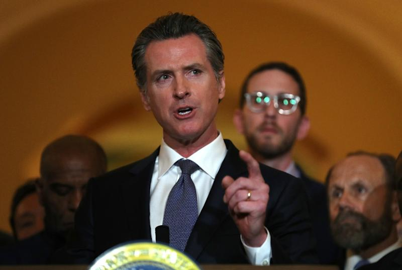 California Gov. Gavin Newsom speaks during a news conference at which he announced a moratorium on California's death penalty