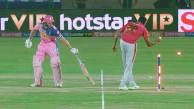 Ravi Ashwin run out Jos Buttler with the IPL's first Mankad dismissal. Pic: BCCI