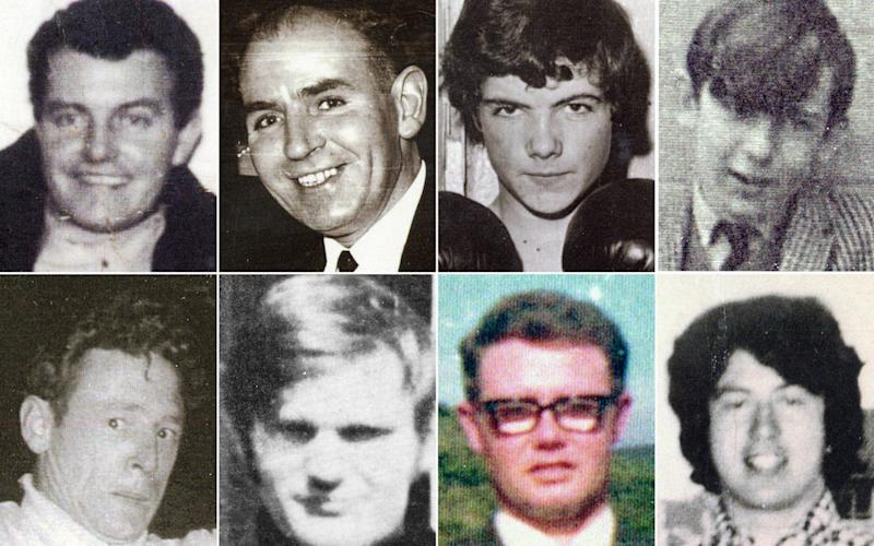 """(From top row, left to right) Patrick Doherty, Bernard McGuigan, John """"Jackie"""" Duddy and Gerald Donaghy, (bottom row, left to right) Gerard McKinney, Jim Wray, William McKinney and John Young who were killed on Bloody Sunday."""