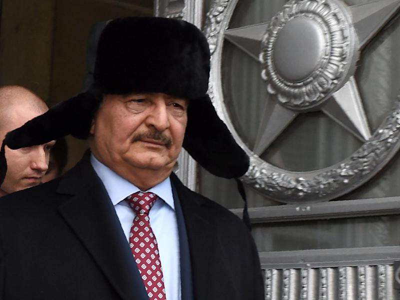 Khalifa Haftar, commander of the Libyan National Army, leaves the Russia's foreign ministry after a meeting in November 2016 (AFP/Getty)