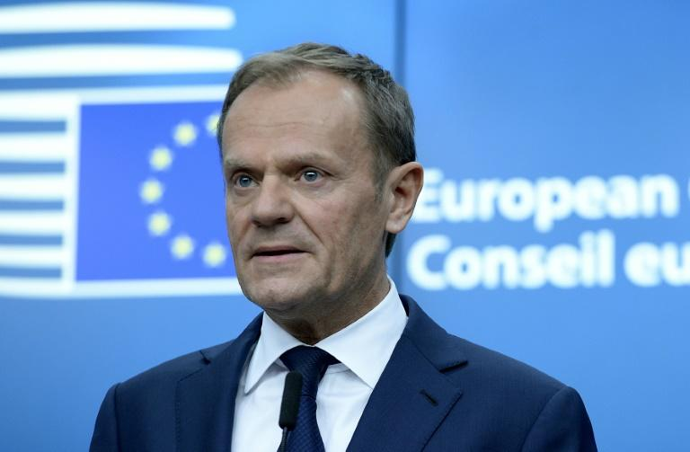 EU president Donald Tusk holds a press conference in Brussels on March 9, 2017