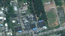 A satellite image shows the aftermath of the gas leak at the LG Polymer plant, on the outskirts of the city of Visakhapatnam