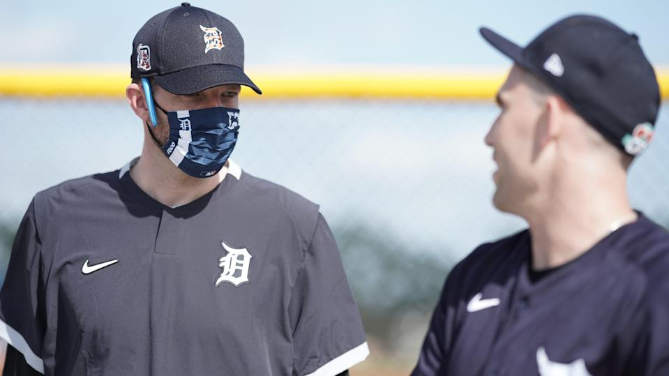 Detroit Tigers pitching coach Chris Fetter (left) and pitcher Matthew Boyd talk on the second day pitchers and catchers report to spring training Feb. 18, 2021, in Lakeland, Florida.