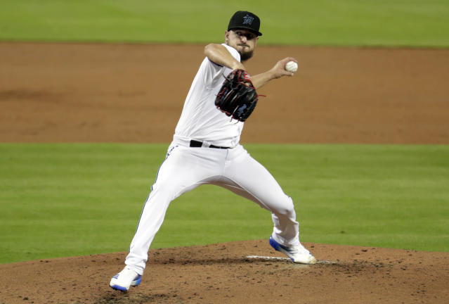 Miami Marlins starting pitcher Caleb Smith throws during the second inning of the team's baseball game against the Cleveland Indians, Wednesday, May 1, 2019, in Miami. (AP Photo/Lynne Sladky)