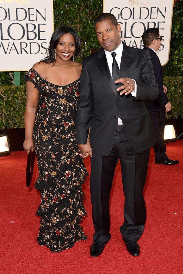 Denzel Washington (L) and Pauletta Washington arrive at the 70th Annual Golden Globe Awards at the Beverly Hilton in Beverly Hills, CA on January 13, 2013.