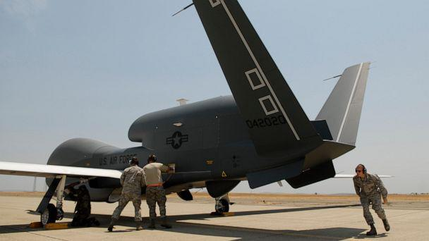 PHOTO: In a Monday, June 30, 2008, file photo, Beale Air Force Base Airmen work on an RQ-4 Global Hawk into its hangar at Beale Air Force Base in Yuba County, Calif. (Chris Kaufman/The Appeal-Democrat via AP, File)