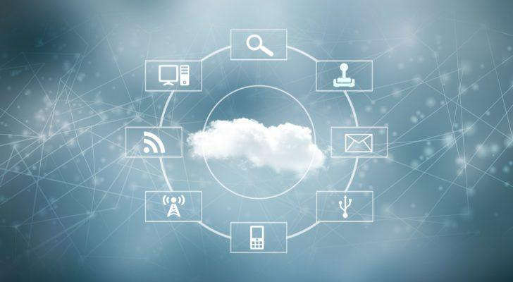 image of a cloud surrounded by various symbols related to internet connectivity and interaction