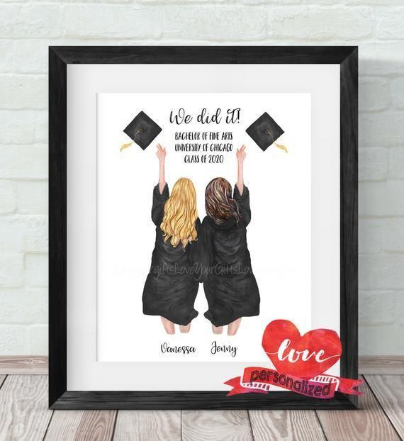 "<p><strong>LoveYourGiftsxoxo</strong></p><p>etsy.com</p><p><strong>$19.95</strong></p><p><a href=""https://go.redirectingat.com?id=74968X1596630&url=https%3A%2F%2Fwww.etsy.com%2Flisting%2F803922321%2F2-best-friends-personalized-graduation&sref=https%3A%2F%2Fwww.thepioneerwoman.com%2Fhome-lifestyle%2Fg35866092%2Fgraduation-gifts%2F"" rel=""nofollow noopener"" target=""_blank"" data-ylk=""slk:Shop Now"" class=""link rapid-noclick-resp"">Shop Now</a></p><p>If you're shopping for a best friend (or a set of best friends!), look no further: This sentimental print can be customized with over 370 options, including different hair colors and styles, skin tones, robe and hat colors, and more. You can also change up the accompanying text.</p>"