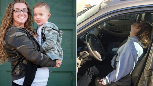 PHOTO: Erika Hurt, 28, is pictured in 2016, right, and posing with her son Parker, left, in 2019 to mark her three-year sobriety. (Ali Elizabeth Photography and Key Words Co. | Hope Police Department)
