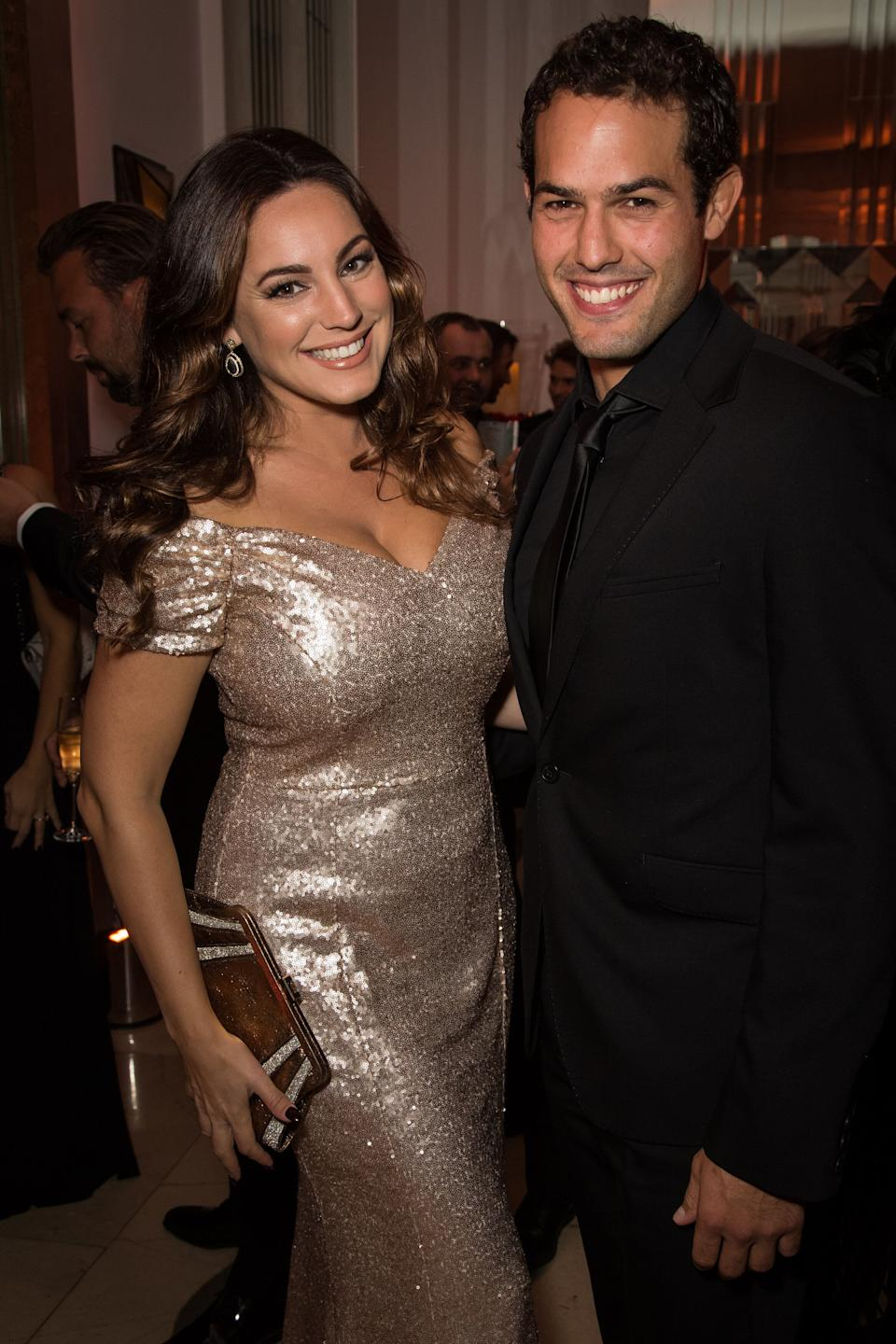 Model Kelly Brook and Jeremy Parisi attend the 'Brilliant is Beautiful' fund raiser dinner organized by the NGO Artists for Peace and Justice, in London, Sunday, Oct. 9, 2016. (Photo by Vianney Le Caer/Invision/AP)