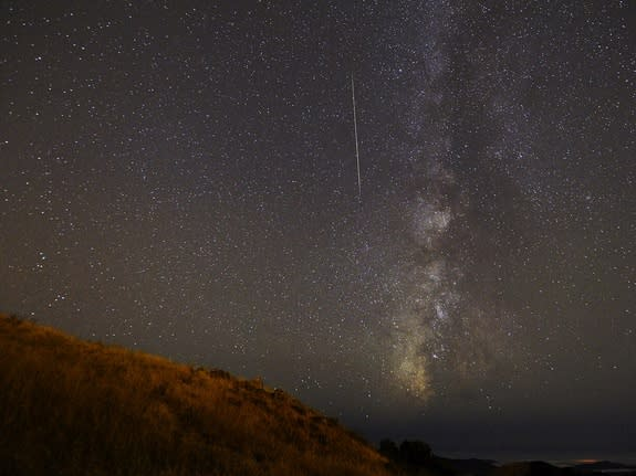 Night sky watcher Vaibhav Tripathi took this photo of a Perseid meteor from the Santa Cruz Mountains near Palo Alto, Calif. on August 12, 2012.