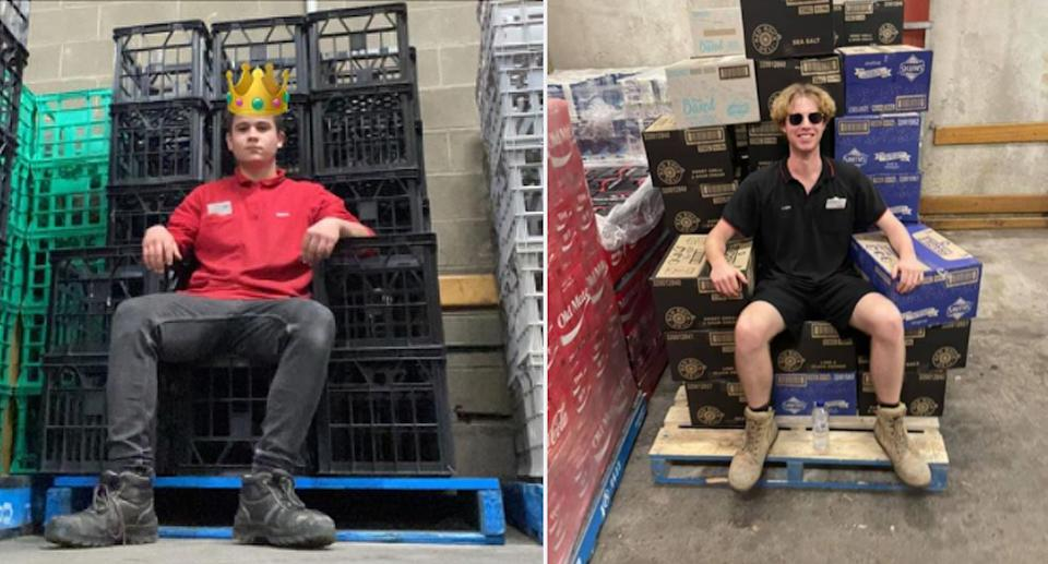 A Coles worker with a crown emoji on black crates made into a throne pictured on the left. On the right is another employee sitting on boxes fashioned into a throne.