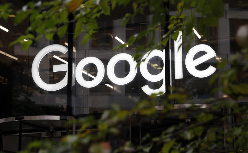 FILE- In this Nov. 1, 2018, file photo, the Google logo at their offices in Granary Square, London. The Australian consumer watchdog is taking Google to court alleging the technology giant broke consumer law by misleading Android users about how their location data was used. (AP Photo/Alastair Grant, File)