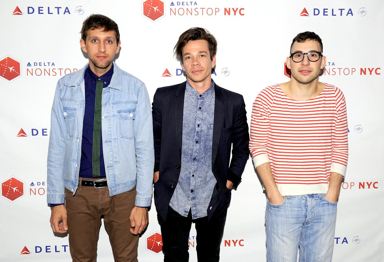 LOS ANGELES, CA - FEBRUARY 04:  (L-R) Musicians Andrew Dost,  Nate Ruess, and Jack Antonoff of the band Fun. perform a private concert to celebrate Delta Air Lines' Nonstop NYC challenge at SLS Hotel on Feb. 4, 2013 in Beverly Hills, California.  (Photo by Bryan Bedder/Getty Images for Delta Air Lines)