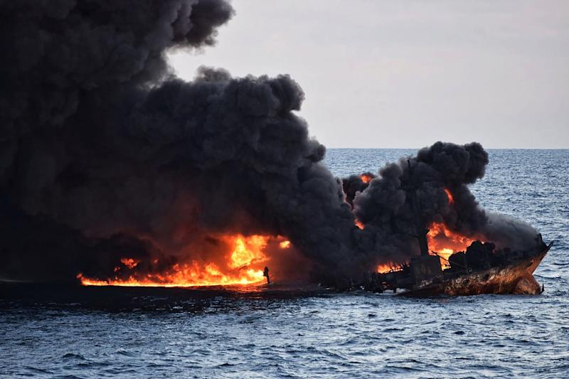 The tanker, operated by Iran's NITC, went down in a ball of flames on January 14, and its entire crew of 30 Iranians and two Bangladeshis are presumed dead