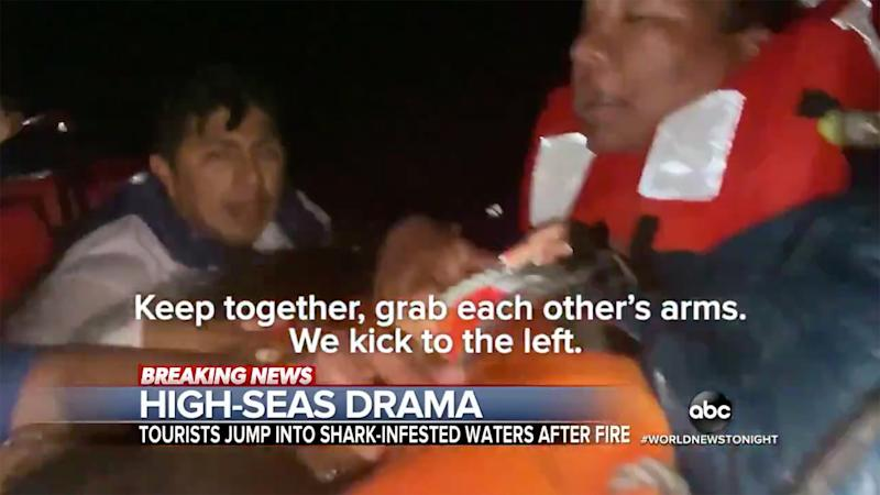 Tourists Jump Ship Into Shark-Infested Waters After Boat Catches Fire