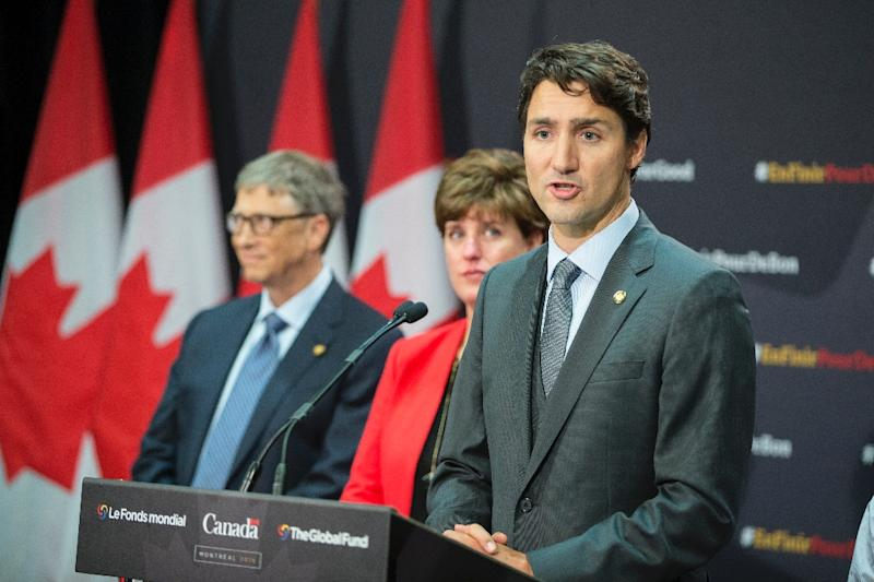 Canadian Prime Minister Justin Trudeau speaks during a press conference following the conclusion of the Fifth Replenishment Conference of the Global Fund to Fight AIDS, Tuberculosis and Malaria in Montreal, Quebec, September 17, 2016 (AFP Photo/Geoff Robins)