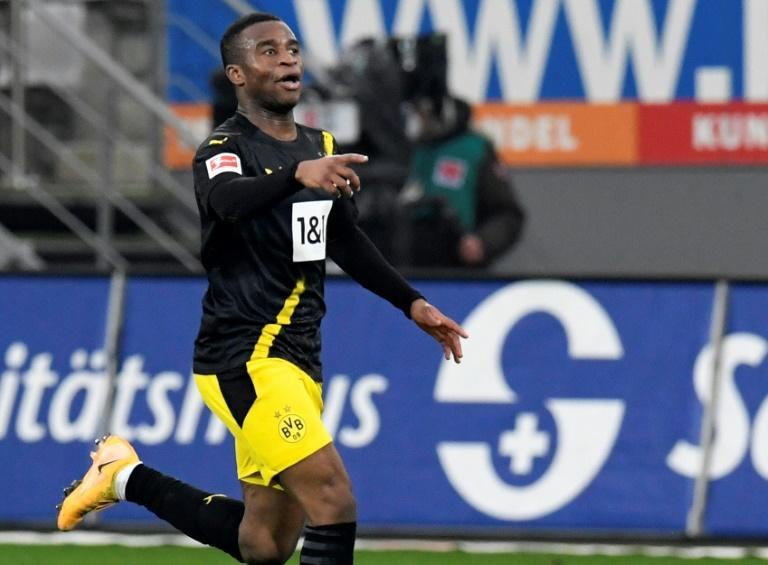 Moukoko celebrates soring for Dortmund in last weekend's defeat at Freiburg