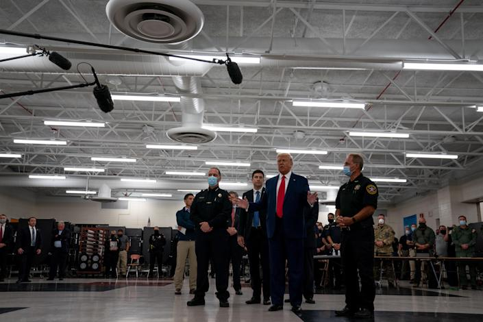 President Donald Trump greets law enforcement officers in Kenosha, Wis., Sept. 1, 2020. (Anna Moneymaker/The New York Times)