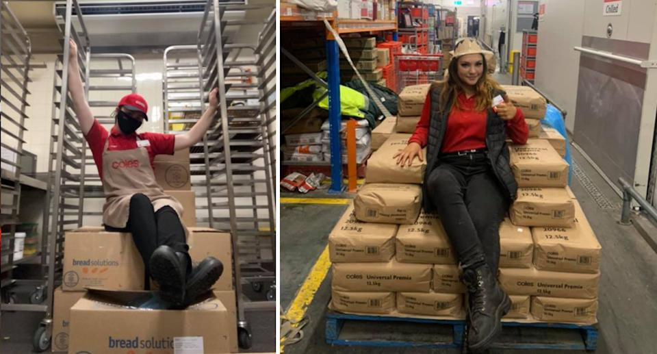Two 'Queen of Coles' contenders sitting on boxes (left) and sacks (right).