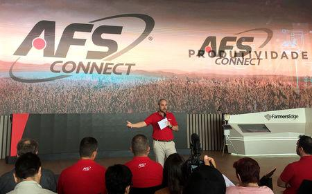 Christian Gonzalez, vice-president South America for machine maker Case IH, attends a presentation in Ribeirao Preto, Brazil May 1, 2019. Picture taken May 1, 2019. REUTERS/Marcelo Teixeira