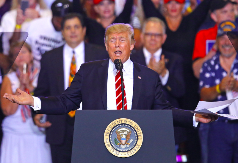 Mr Trump used the rally to attack his critics (Picture: Rex)
