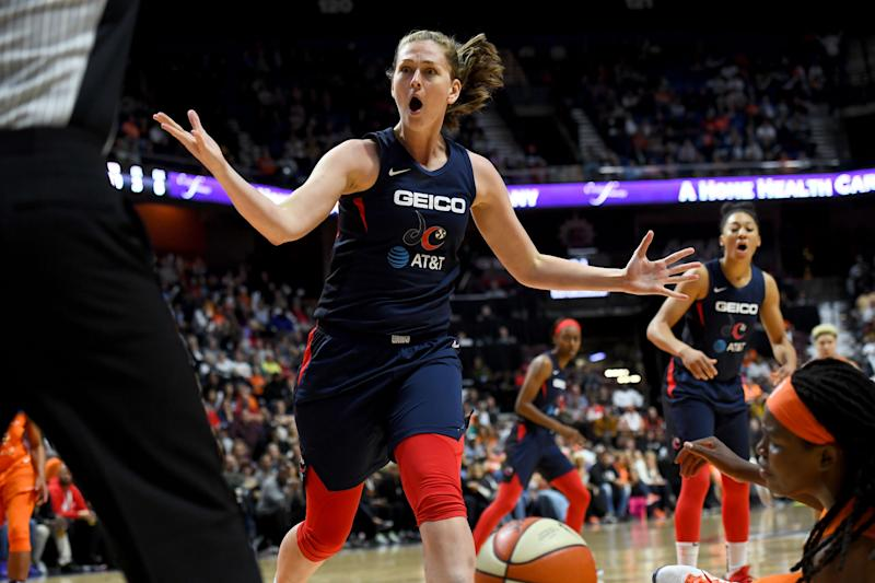 UNCASVILLE, CT - OCTOBER 8: Washington Mystics center Emma Meesseman (33) disputes the call in the second half at Mohegan Sun Arena in the fourth game of the WNBA Finals October 08, 2019 in Uncasville, CT. The Connecticut Sun beat the Washington Mystics 90-86 to force a game five in D.C. on Sunday. (Photo by Katherine Frey/The Washington Post via Getty Images)