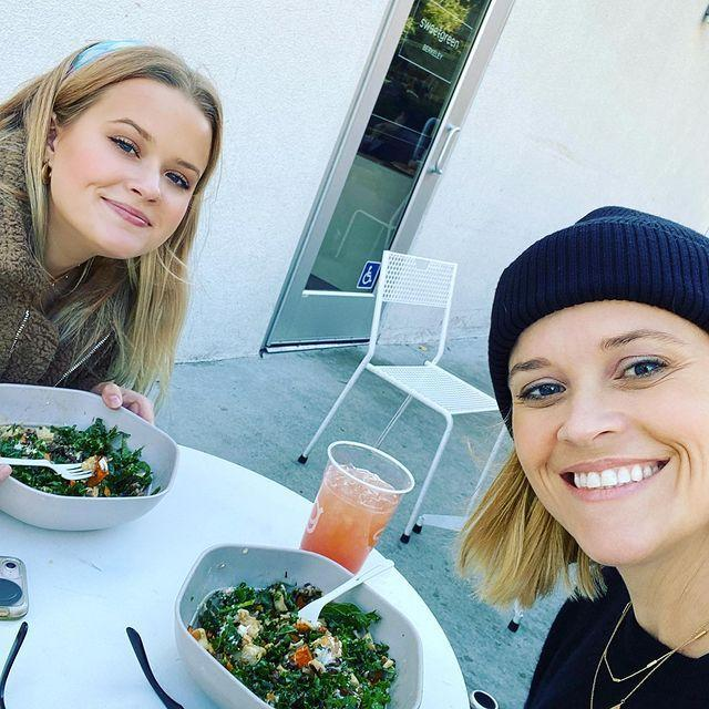 """<p>Go for the greens! During an interview with <a href=""""https://www.vogue.com/article/reese-witherspoon-vogue-cover-february-2019-issue"""" rel=""""nofollow noopener"""" target=""""_blank"""" data-ylk=""""slk:Vogue"""" class=""""link rapid-noclick-resp"""">Vogue</a>, Reese ordered a kale-and-lentil salad with chicken for lunch. She also raved about kale salads in a separate interview with <a href=""""https://www.nytimes.com/2016/05/22/travel/reese-witherspoon-draper-james.html"""" rel=""""nofollow noopener"""" target=""""_blank"""" data-ylk=""""slk:The New York Times"""" class=""""link rapid-noclick-resp"""">The New York Times</a>.</p><p><a href=""""https://www.instagram.com/p/B5JdysWgDfP/"""" rel=""""nofollow noopener"""" target=""""_blank"""" data-ylk=""""slk:See the original post on Instagram"""" class=""""link rapid-noclick-resp"""">See the original post on Instagram</a></p>"""