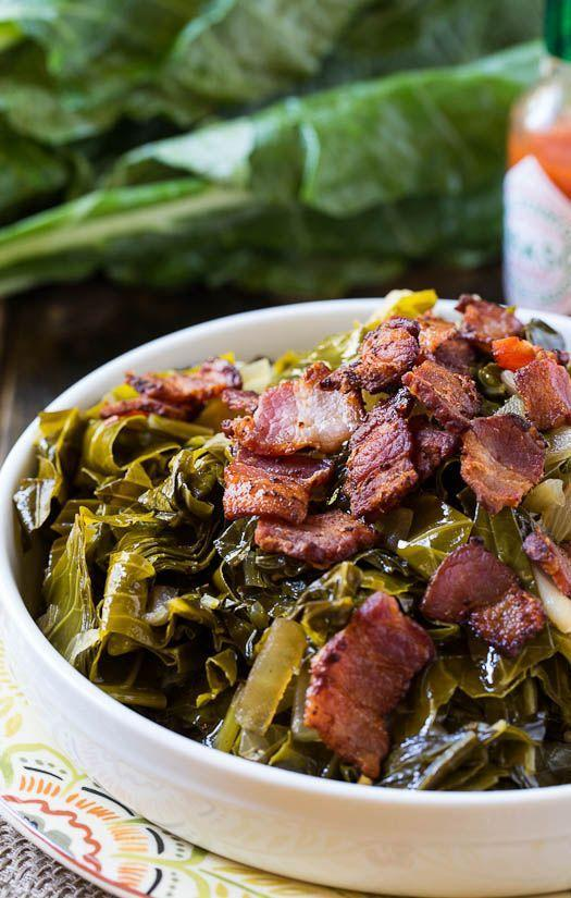 """<p>The classic Southern side goes next-level with bacon.</p><p>Get the recipe from <a href=""""http://spicysouthernkitchen.com/spicy-collard-greens/"""" rel=""""nofollow noopener"""" target=""""_blank"""" data-ylk=""""slk:Spicy Southern Kitchen"""" class=""""link rapid-noclick-resp"""">Spicy Southern Kitchen</a>.</p>"""
