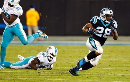 Nov 13, 2017; Charlotte, NC, USA; Carolina Panthers running back Jonathan Stewart (28) runs the ball during the fourth quarter against the Miami Dolphins at Bank of America Stadium. Jeremy Brevard-USA TODAY Sports