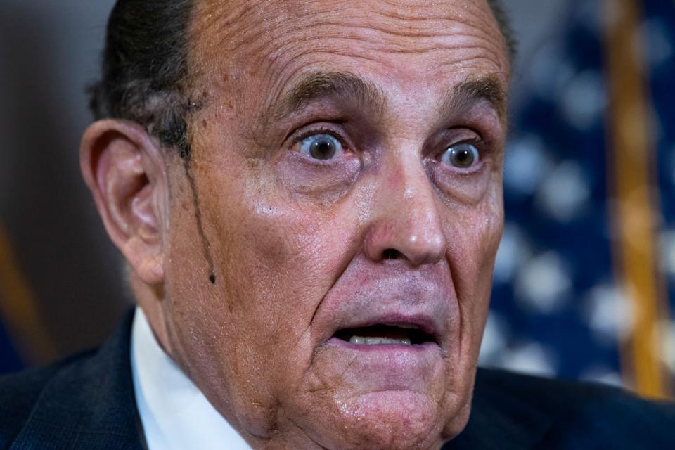 Rudy Giuliani, attorney for President Donald Trump, conducts a news conference at the Republican National Committee, on lawsuits regarding the outcome of the 2020 presidential election.