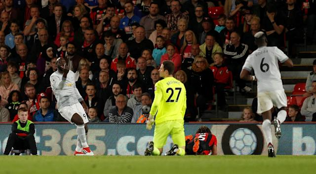 "Soccer Football - Premier League - AFC Bournemouth vs Manchester United - Vitality Stadium, Bournemouth, Britain - April 18, 2018 Manchester United's Romelu Lukaku celebrates scoring their second goal with Paul Pogba Action Images via Reuters/John Sibley EDITORIAL USE ONLY. No use with unauthorized audio, video, data, fixture lists, club/league logos or ""live"" services. Online in-match use limited to 75 images, no video emulation. No use in betting, games or single club/league/player publications. Please contact your account representative for further details."