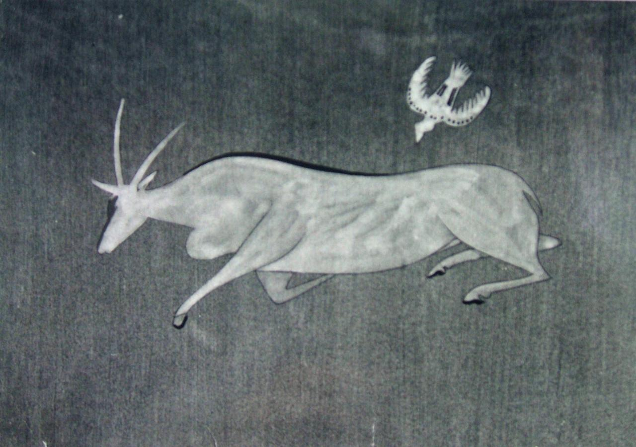 "This undated photo provided by The City of Tshwane on Monday, Nov. 12, 2012, shows a 1961 JH Pierneef ""Eland and Bird"" gouache drawing on paper. Police in South Africa said Monday that robbers posing as visitors to an art museum stole more than $2 million worth of art including ""Eland and Bird"" from an exhibit near the country's capital. (AP Photo/The City of Tshwane)"