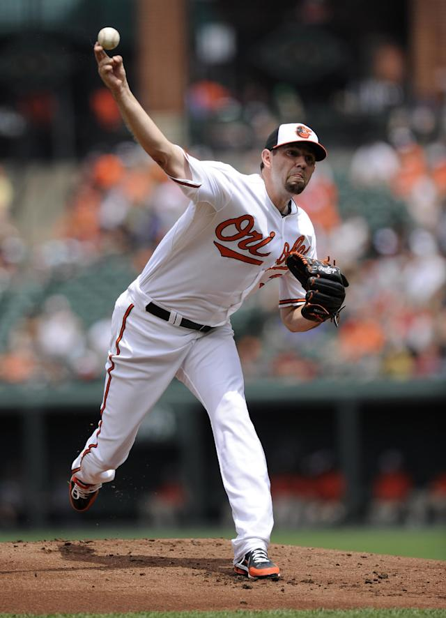Baltimore Orioles starting pitcher Jason Hammel delivers against the Boston Red Sox during the first inning of a baseball game on Sunday, July 28, 2013, in Baltimore. (AP Photo/Nick Wass)