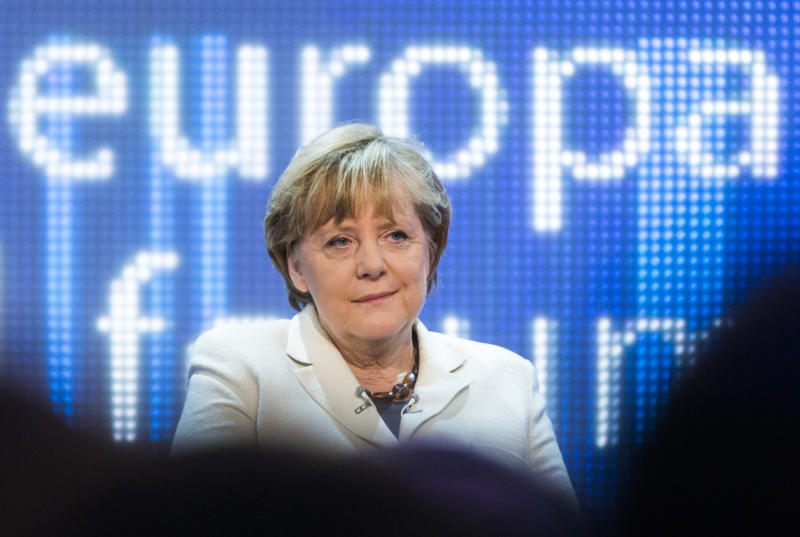 "German Chancellor Angela Merkel attends a discussion panel on ""making Europe strong"" during the Europe forum conference, organized by German public-broadcaster WDR, in Berlin, Germany, Thursday, May 16, 2013. (AP Photo/Gero Breloer)"