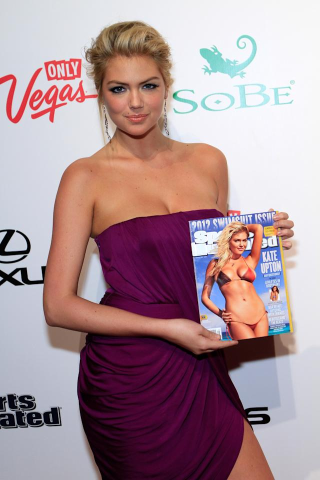 LAS VEGAS, NV - FEBRUARY 16:  Sports Illustrated Swimsuit Issue cover model Kate Upton arrives at Club SI Swimsuit hosted by the Pure Nightclub at Caesars Palace at the Pure Nightclub at Caesars Palace on February 16, 2012 in Las Vegas, Nevada.  (Photo by Jacob Andrzejczak/Getty Images for Sports Illustrated)
