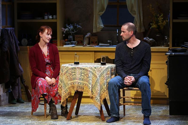 "Devon Sorvari and ​Scott Ferrara in South Coast Repertory's ​production of ""​Outside Mullingar"" by ​John Patrick Shanley. The production was in previews when the coronavirus closures hit."