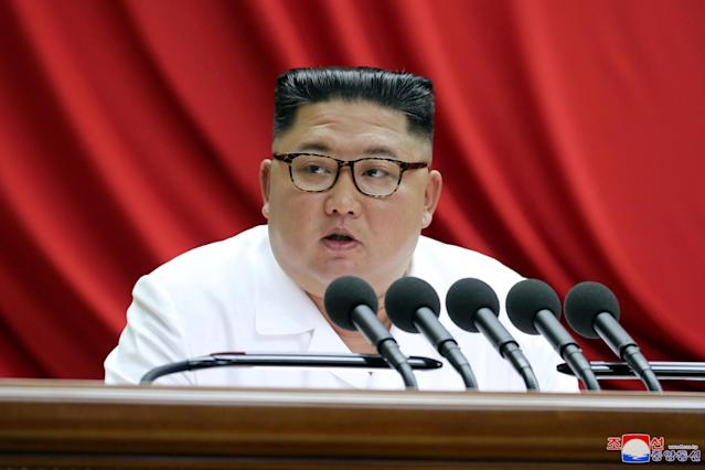 Kim Jong Un speaks during the 5th Plenary Meeting of the 7th Central Committee of the Workers' Party of Korea (WPK) (Picture: Reuters)