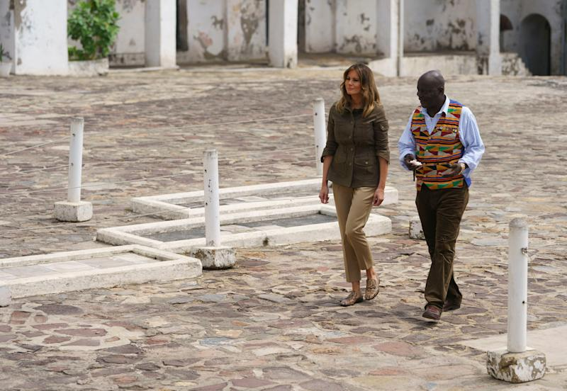 Melania Trump Greeted With 'Not a Sh*thole' Sign on Africa Trip