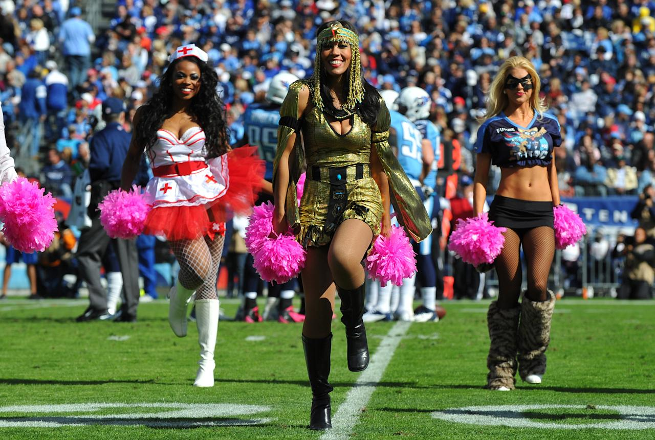 Oct 28, 2012; Nashville, TN, USA; Tennessee Titans cheerleaders perform in a game against the Indianapolis Colts during the first half at LP Field. Mandatory credit: Don McPeak-US