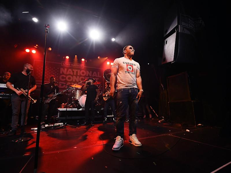 Rapper Nelly performs with the Roots on 1 May 2017 in New York City: Michael Loccisano/Getty Images for Live Nation