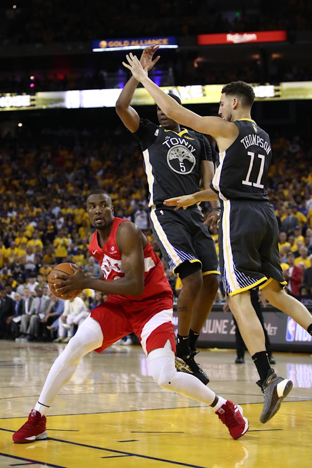 Serge Ibaka #9 of the Toronto Raptors attempts a shot against the Golden State Warriors in the second half during Game Four of the 2019 NBA Finals at ORACLE Arena on June 07, 2019 in Oakland, California. (Photo by Ezra Shaw/Getty Images)