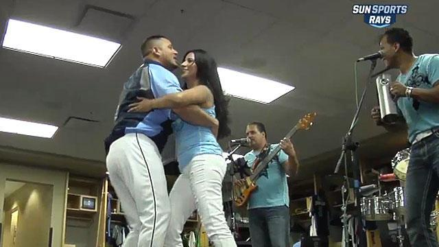 Merengue band in Rays' locker room
